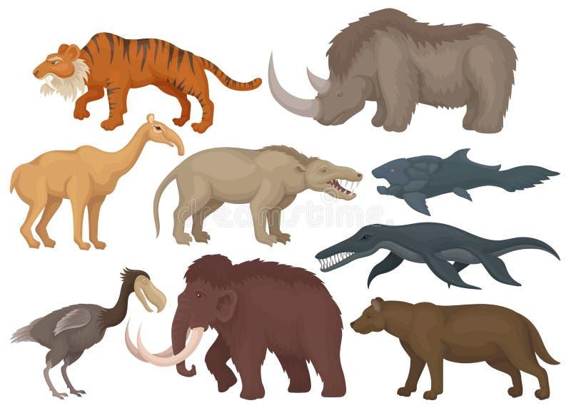 平的传染媒介套不同的绝种史前动物 鱼、鸟和野生哺乳动物的野兽 野生生物题材 库存例证