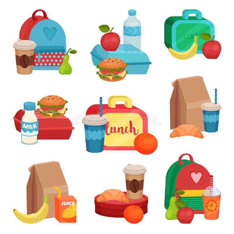 平的传染媒介套五颜六色的构成用学校食物 鲜美膳食 可口果子、饮料和三明治 库存例证