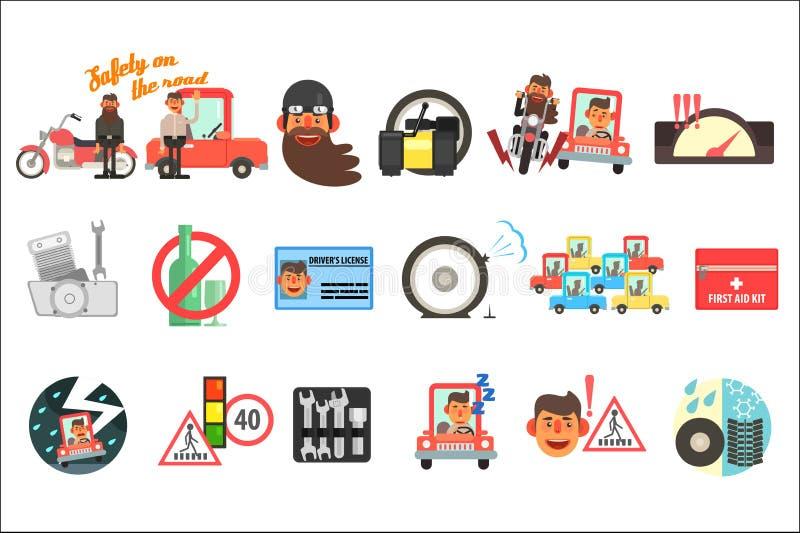 平的传染媒介套动画片项目与在路的安全关连 交易代码,标志,急救工具,司机s执照 向量例证