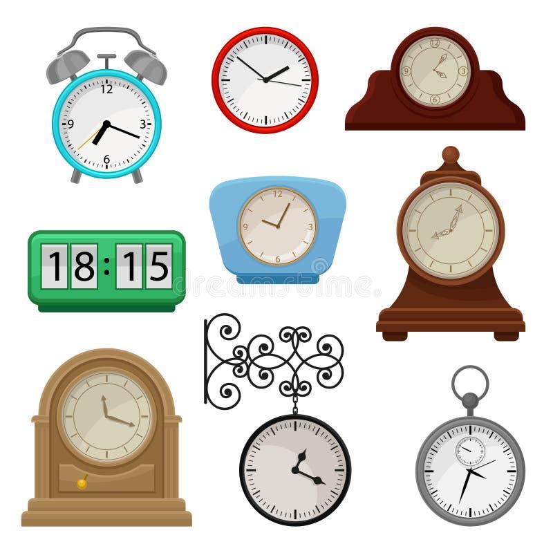 平的传染媒介套在时钟的各种各样的类型 秒表和闹钟 古董或纪念品电视节目预告海报的元素  库存例证