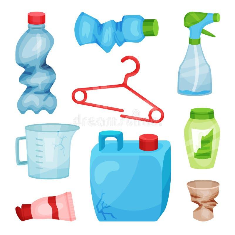 平的传染媒介套塑料废物 被弄皱的瓶和杯子、打破的挂衣架、崩裂的罐和测量的水罐 排序 向量例证