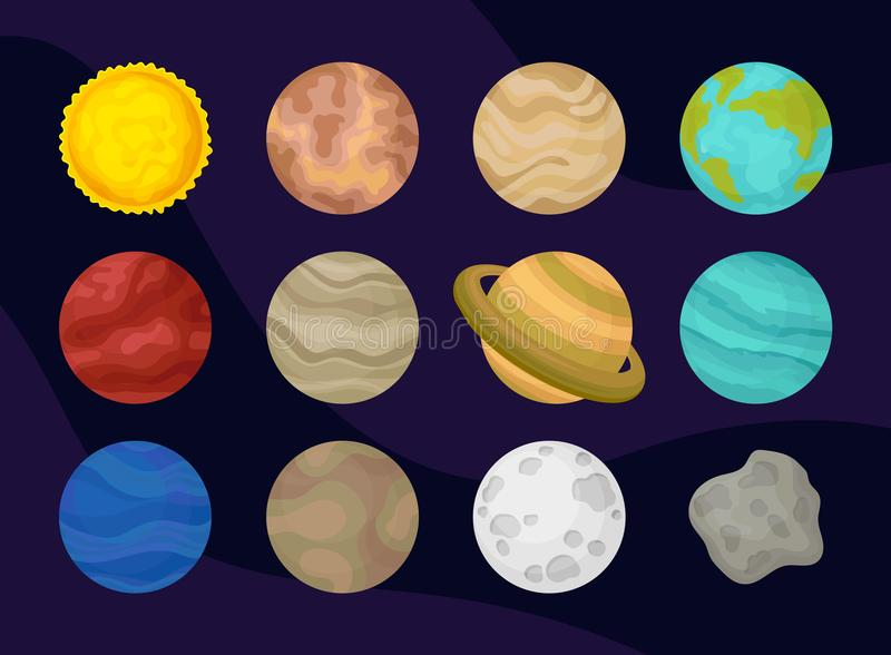 平的传染媒介套太阳系行星  空间或天文题材 宇宙的探险 海报的元素或 皇族释放例证