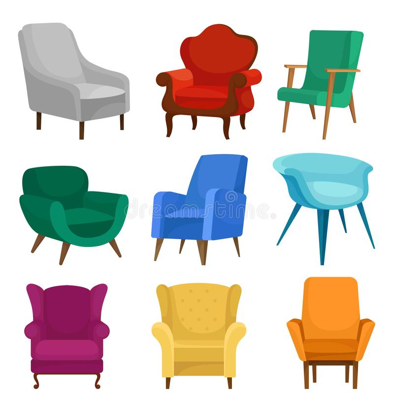 平的传染媒介套扶手椅子 葡萄酒和现代椅子与软的室内装饰品 客厅的舒适的家具 皇族释放例证