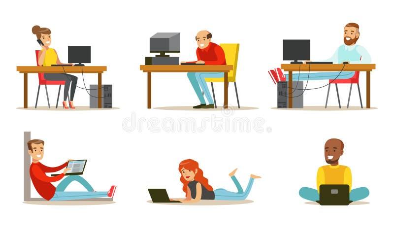 平的传染媒介套有膝上型计算机和计算机的动画片人 工作在互联网的男人和妇女,打电子游戏或 向量例证