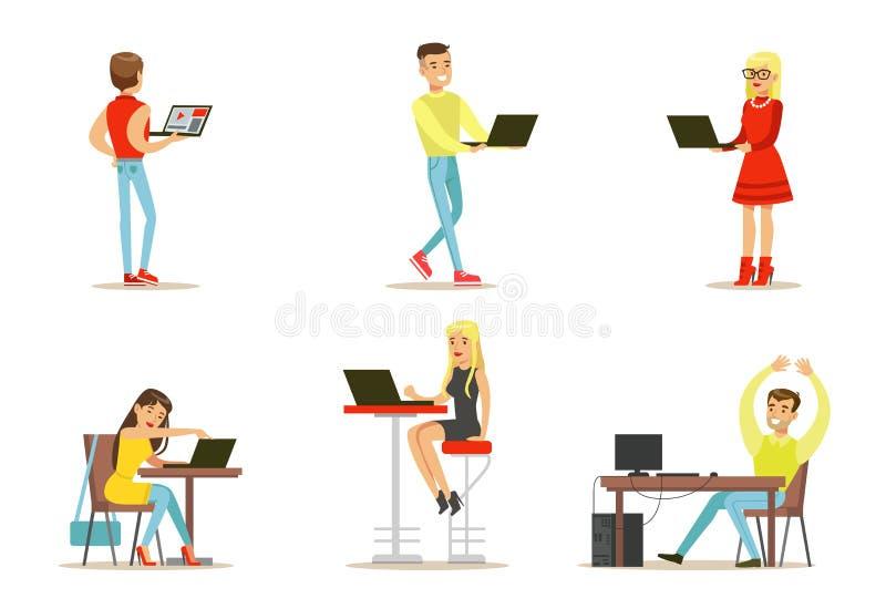 平的传染媒介套有计算机的青年人 互联网用户 聊天与朋友的人和女孩,打比赛 库存例证