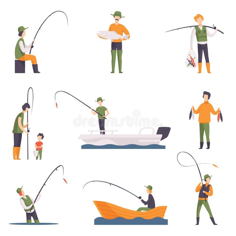 平的传染媒介套有鱼和设备的渔人 小船的渔夫有钓鱼竿的 室外的活动 皇族释放例证