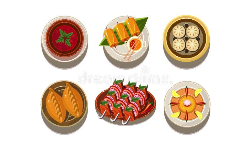 平的传染媒介套有鲜美亚洲盘的板材 传统中国的烹调 可口食物 开胃膳食 皇族释放例证