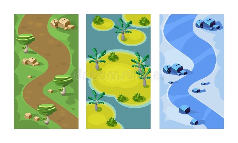 平的传染媒介套流动比赛的3垂直的背景 与森林道路、含沙海岛和河的无缝的场面 皇族释放例证