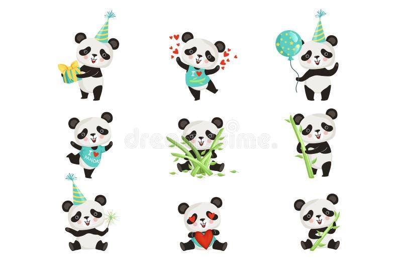 平的传染媒介套滑稽的小熊猫以各种各样的情况 逗人喜爱的竹熊卡通人物  图形设计为 库存例证