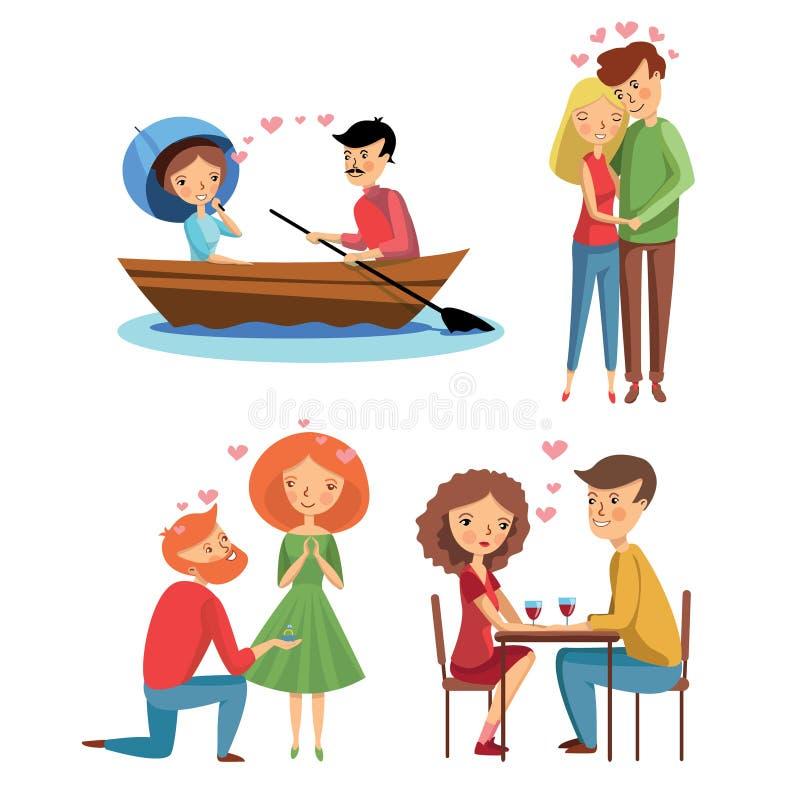 平的传染媒介套爱的夫妇用不同的情况 花束金刚石订婚结婚提议环形玫瑰 拥抱女孩和人 也约会我浪漫看到相似的工作的画廊 库存例证