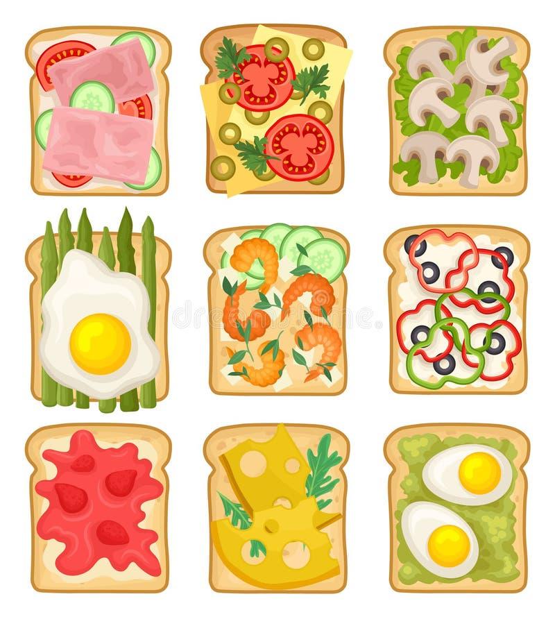平的传染媒介套用不同的成份的三明治 敬酒的面包切片用火腿,草莓,菜,油煎 向量例证