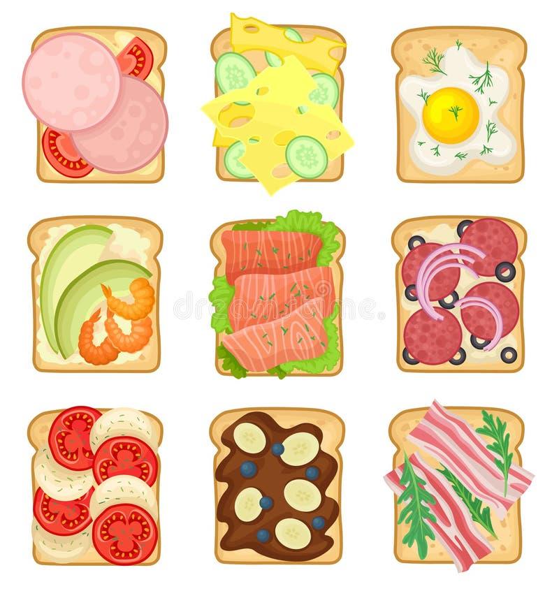 平的传染媒介套用不同的成份的三明治 敬酒的面包切片用香肠,煎蛋,蒜味咸腊肠 库存例证