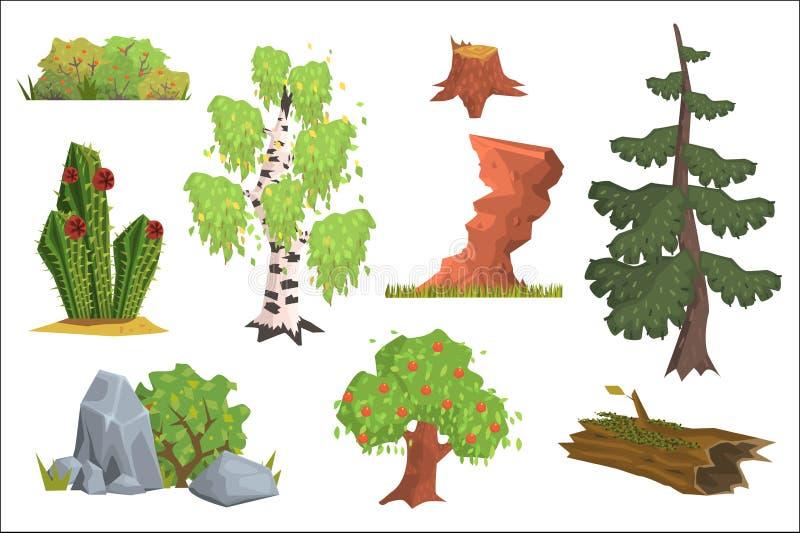 平的传染媒介套自然元素 苹果树,桦树,仙人掌,灌木用莓果,杉树,石头,老树桩,岩石 皇族释放例证