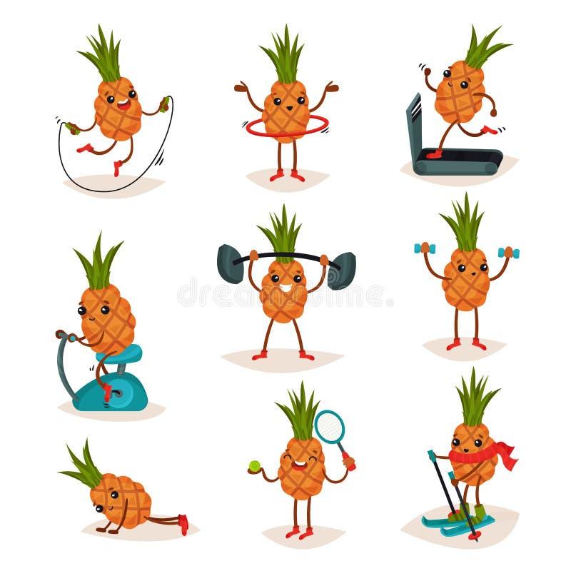 平的传染媒介套被赋予人性的菠萝用不同的行动 活跃锻炼 热带水果漫画人物  皇族释放例证