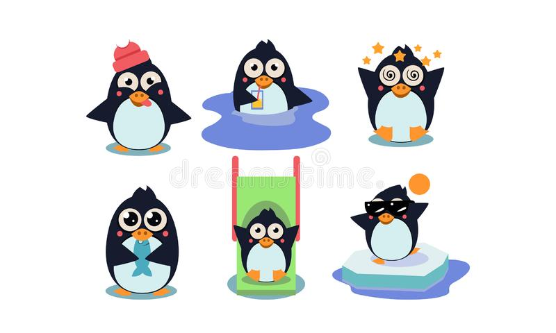 平的传染媒介套逗人喜爱的企鹅用不同的行动滑稽的漫画人物 流动比赛的元素 库存例证