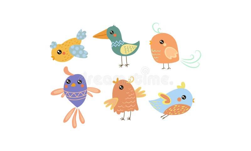 平的传染媒介套逗人喜爱的小的鸟 与小翼的可爱的生物 儿童图书的图表元素 库存例证