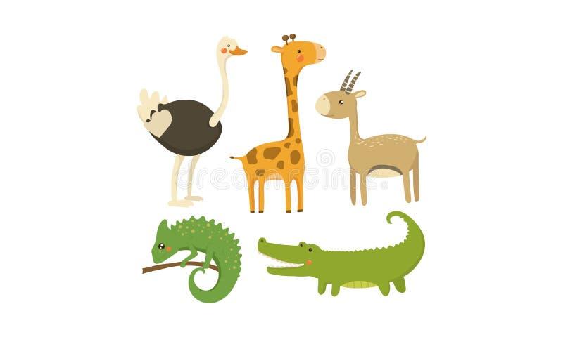 平的传染媒介套非洲动物 狂放的生物 逗人喜爱的漫画人物 流动比赛或儿童图书的元素 库存例证