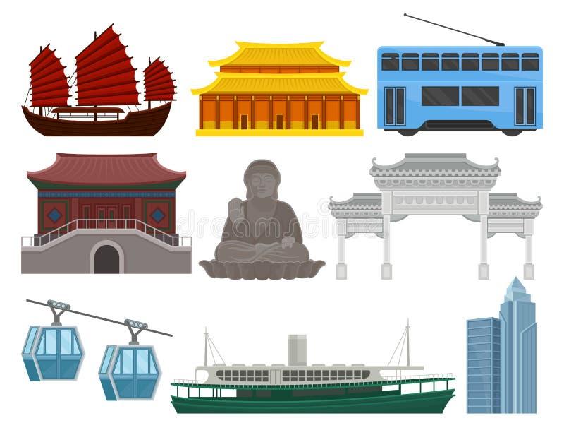 平的传染媒介套香港旅行元素 传统和现代中国大厦,大菩萨雕象,普遍 库存例证