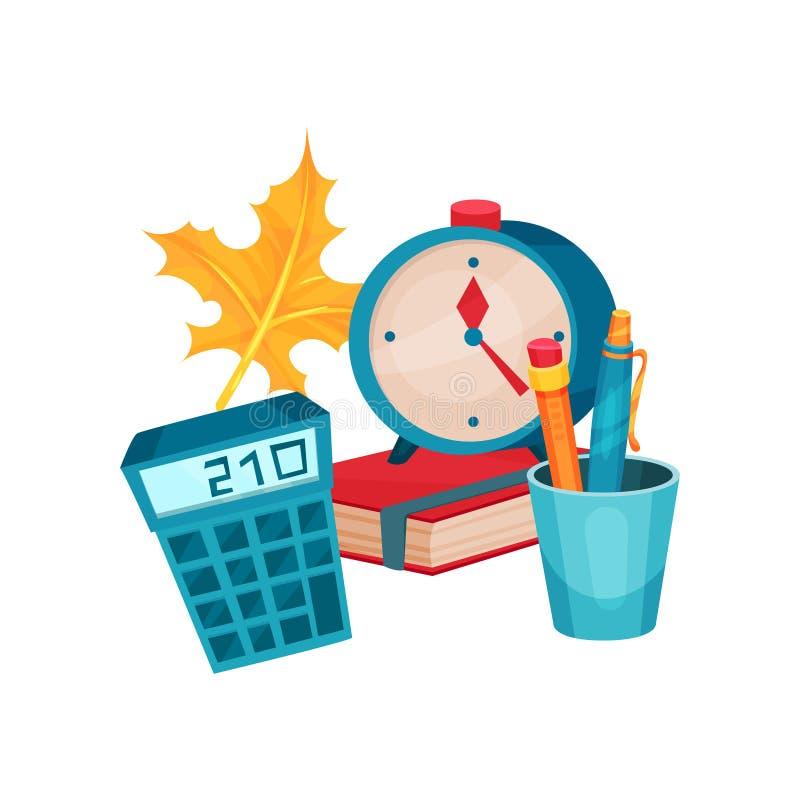 平的传染媒介对象与教育题材有关 回到学校 计算器、闹钟、杯子有笔的和铅笔,书 向量例证