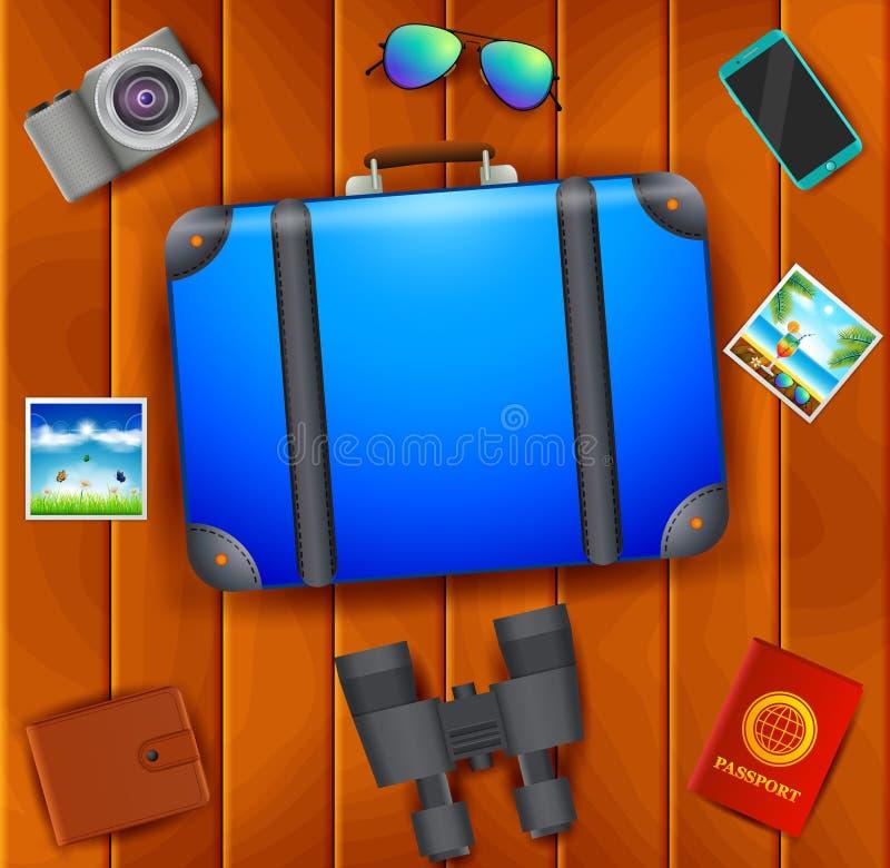 平的传染媒介网横幅在旅行,假期,冒险题材设置了  为您的旅途做准备 现代旅客成套装备  O 皇族释放例证