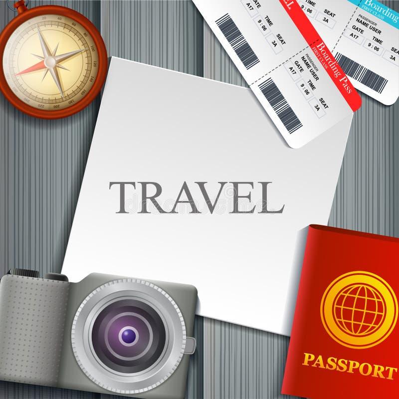 平的传染媒介网横幅在旅行,假期,冒险题材设置了  为您的旅途做准备 现代旅客成套装备  O 向量例证