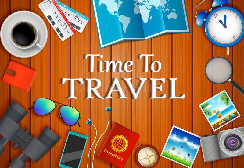 平的传染媒介网横幅在旅行,假期,冒险题材设置了  为您的旅途做准备 现代旅客成套装备  O 库存例证
