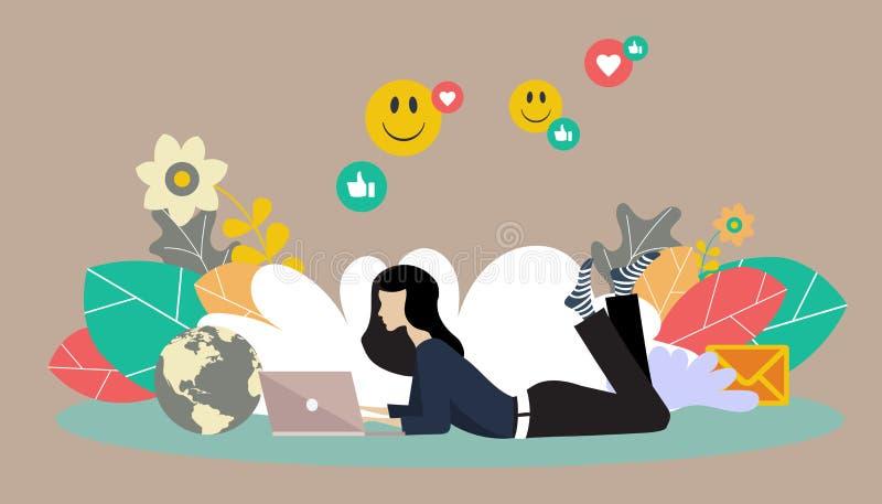 平的传染媒介网站模板和登陆的聊天和写博克在她的膝部上面的女孩页设计 向量例证