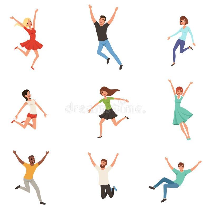 平的传染媒介设置与跳跃愉快的人民 快乐的男人和妇女用不同的位置 年轻人漫画人物  库存例证