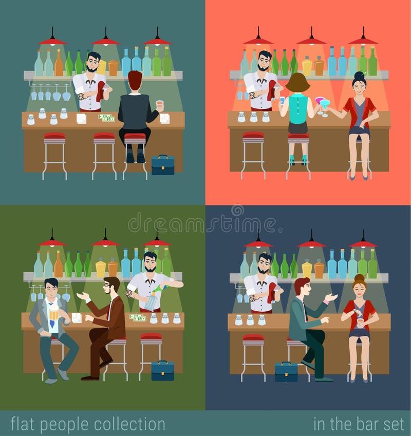 平的传染媒介人民喝在酒吧的酒精与男服务员 皇族释放例证