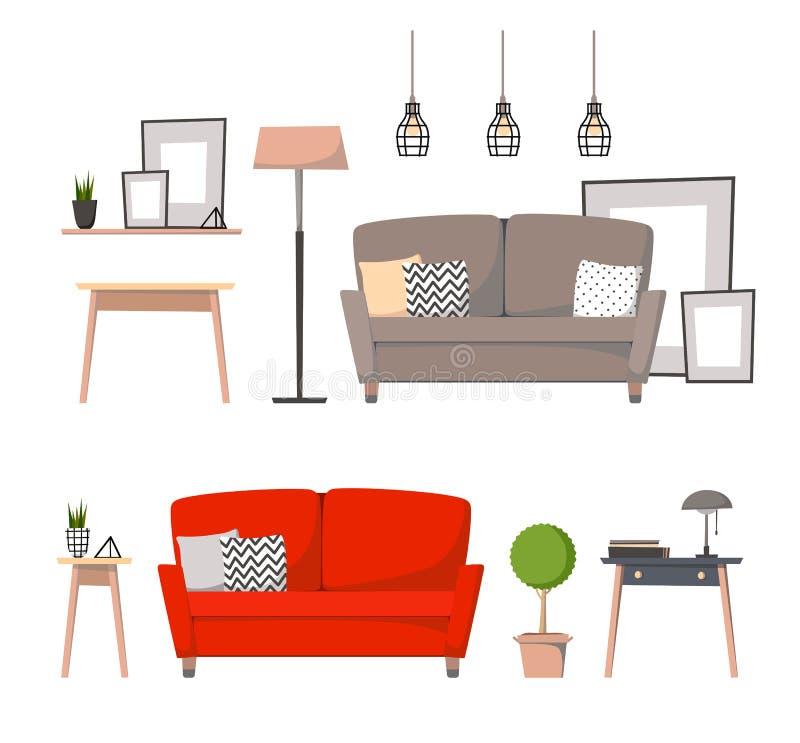 平的传染媒介例证-如此设计家庭内部的元素 库存例证