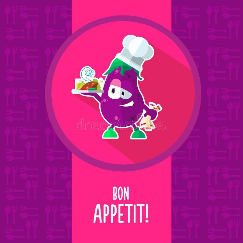 平的传染媒介卡片用厨师动画片茄子和厨具 皇族释放例证