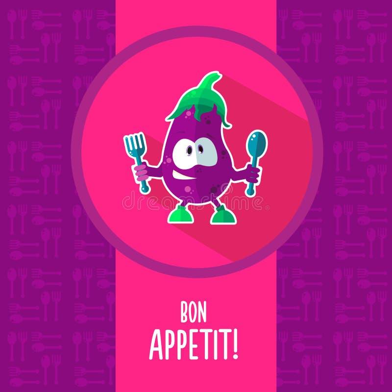 平的传染媒介卡片用厨师动画片茄子和厨具 库存例证