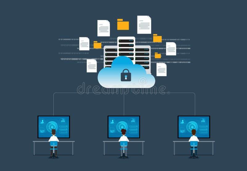 平的传染媒介技术互联网网络安全设计观念 库存例证