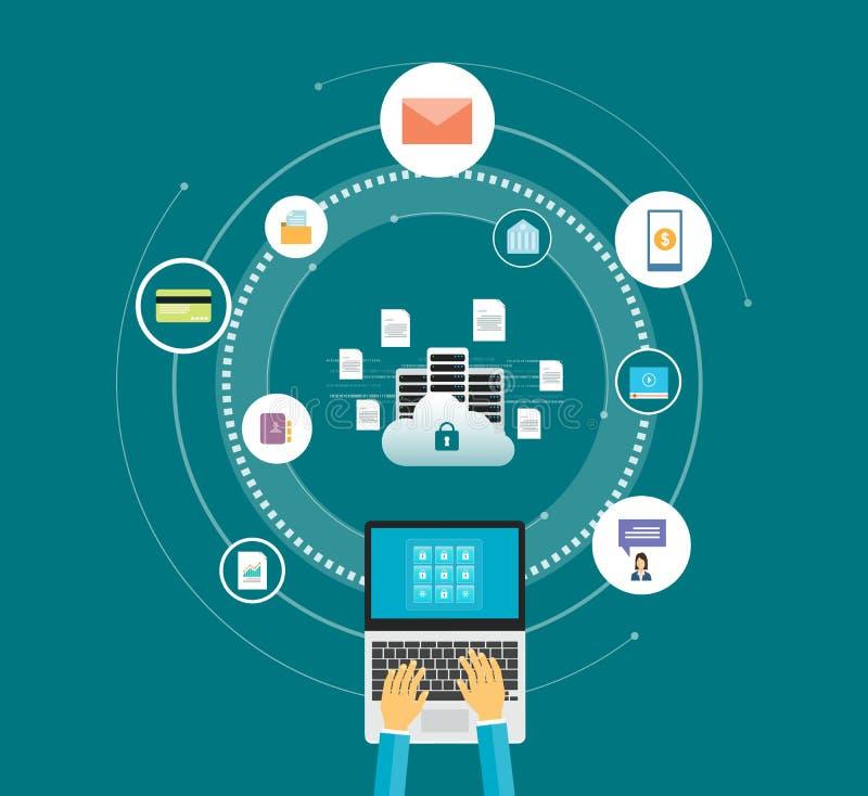 平的传染媒介技术互联网网络安全设计 向量例证