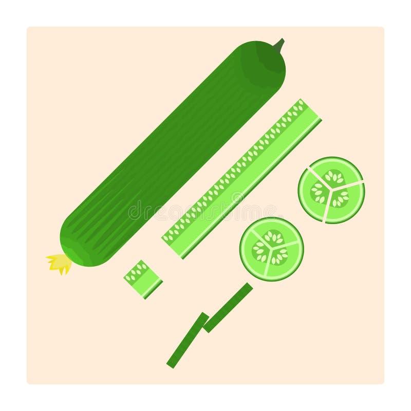 平的传染媒介新绿色黄瓜象:充分,裁减,被切和求立方 食谱的,菜单好的烹调标志 向量例证