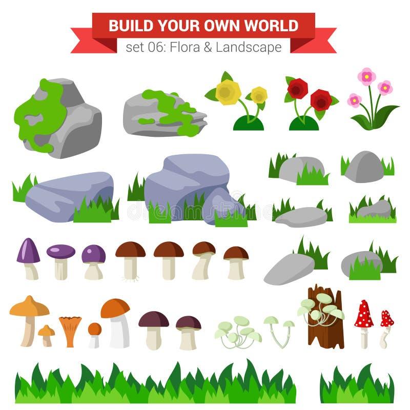 平的传染媒介植物群收藏:石头,花,蘑菇,草 皇族释放例证