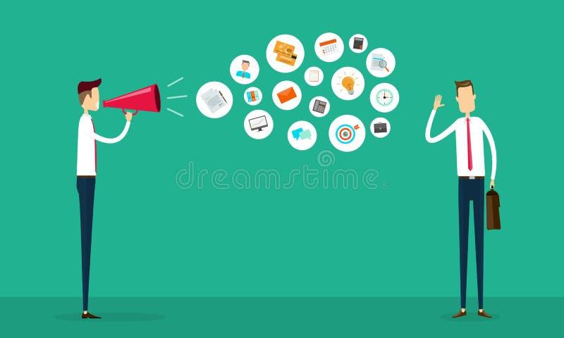 平的传染媒介营业通讯和连接概念 向量例证