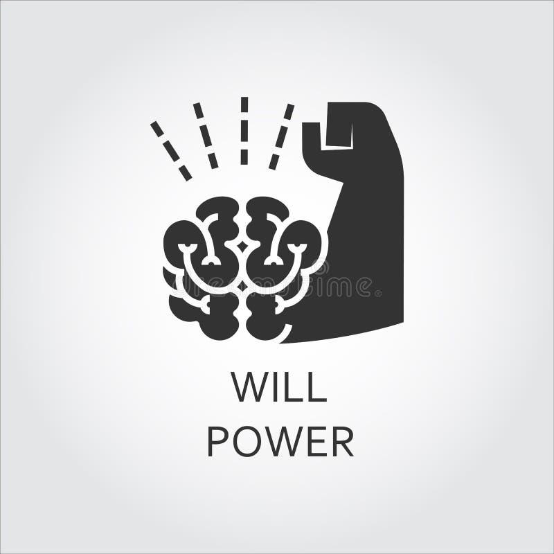 黑平的传染媒介象自我克制力当脑子和肌肉手 向量例证