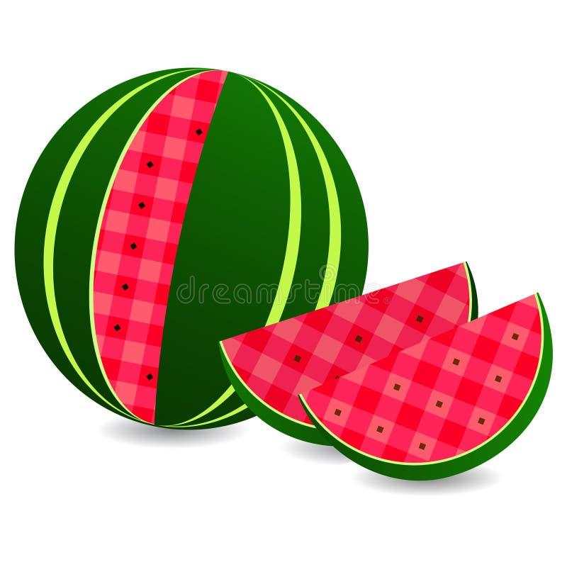 平的传染媒介象西瓜和切片西瓜 向量例证