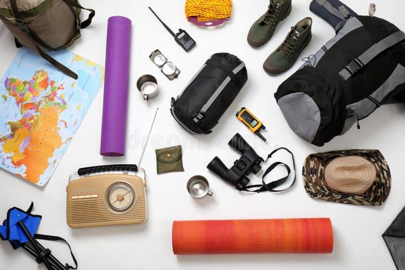 平的位置构成用野营的设备 免版税图库摄影