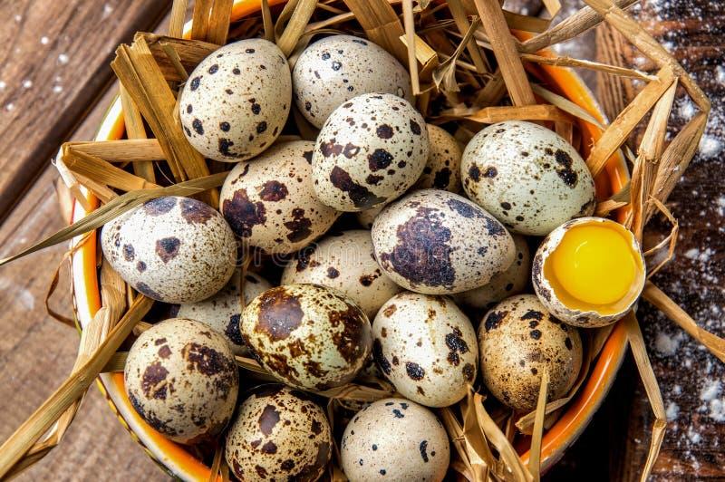 平的位置 黏土碗充满干燥秸杆和新鲜的农厂鹌鹑蛋 土气的生活仍然 关闭 免版税库存照片