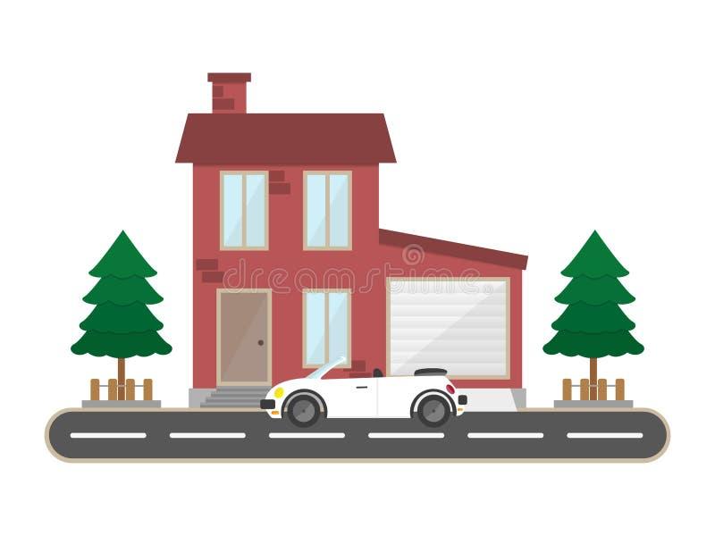 平的住宅砖房子车库和跑车风景大厦 库存例证