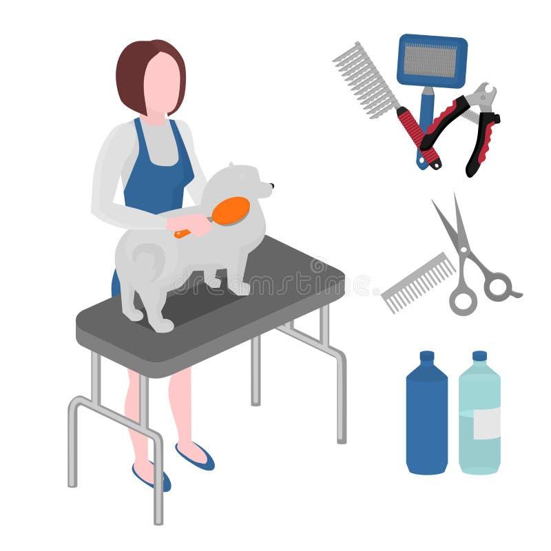平的修饰沙龙设备集合,狗理发用工具加工象 小狗女孩groomer汇集、指甲夹、切削刀、雨衣和刷子 向量例证