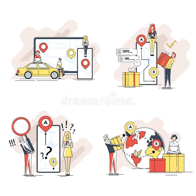平的几何送货服务,出租汽车全世界运输,包裹概念的查寻的线艺术例证套 库存例证