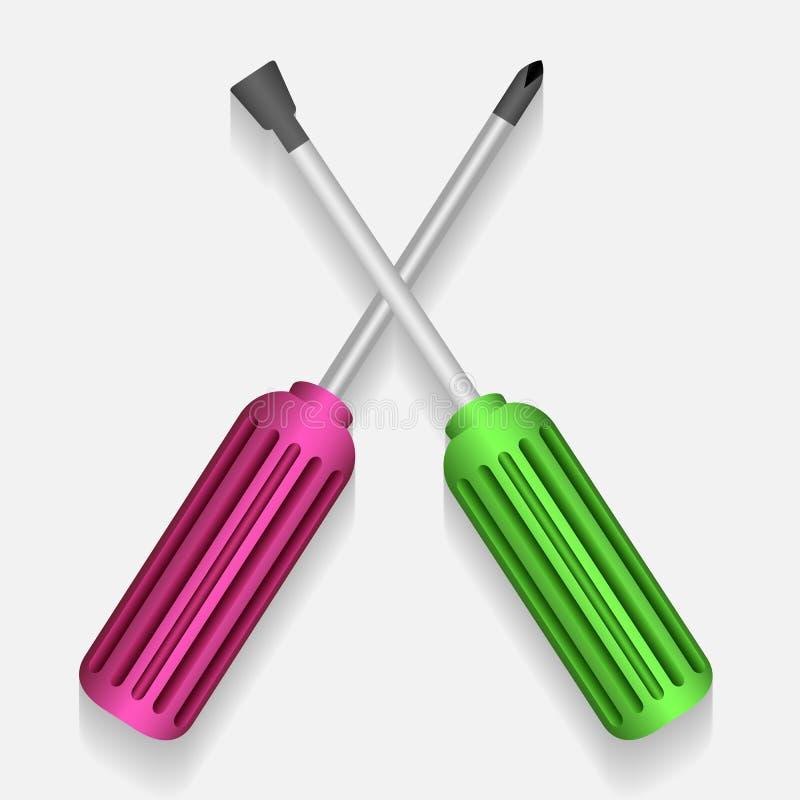 平的刃状和飞利浦磁头的发怒螺丝刀 皇族释放例证
