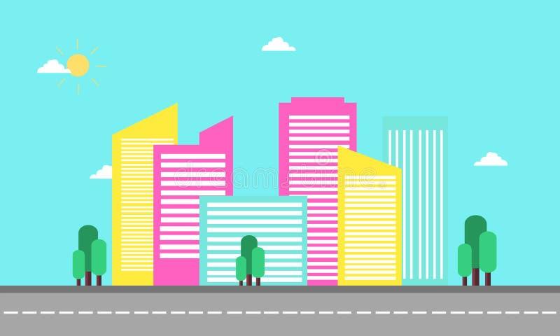平的剪影设计都市风景  向量例证