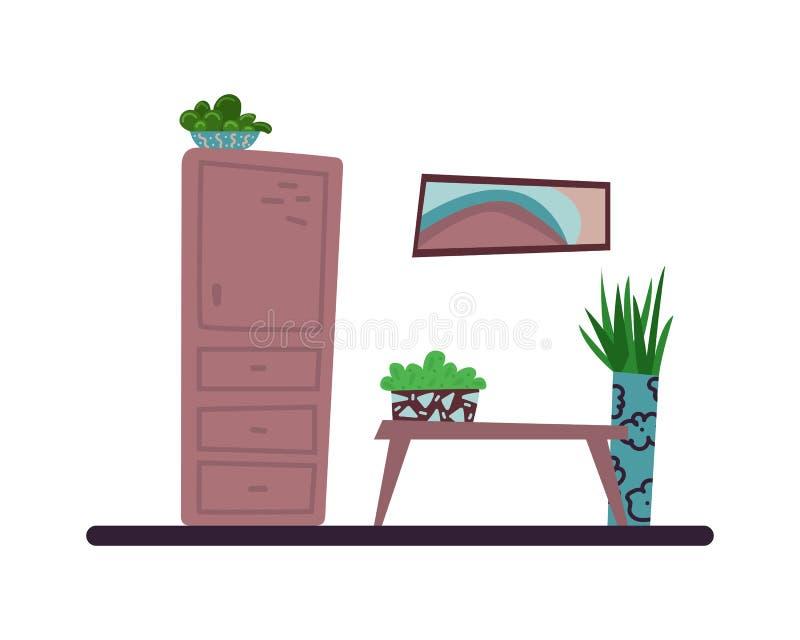 平的动画片内部 有房子植物的客厅 hygge 查出的向量例证 向量例证