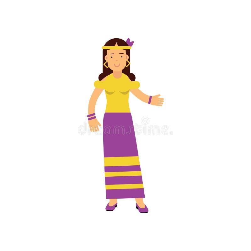 平的动画片妇女嬉皮 有长的棕色头发的愉快和无忧无虑的女性,穿戴在长的紫色裙子和黄色t 向量例证