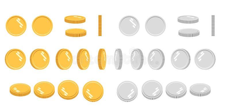 平的动画片金和银币,套象在动画的不同的角度 例证现代向量 向量例证
