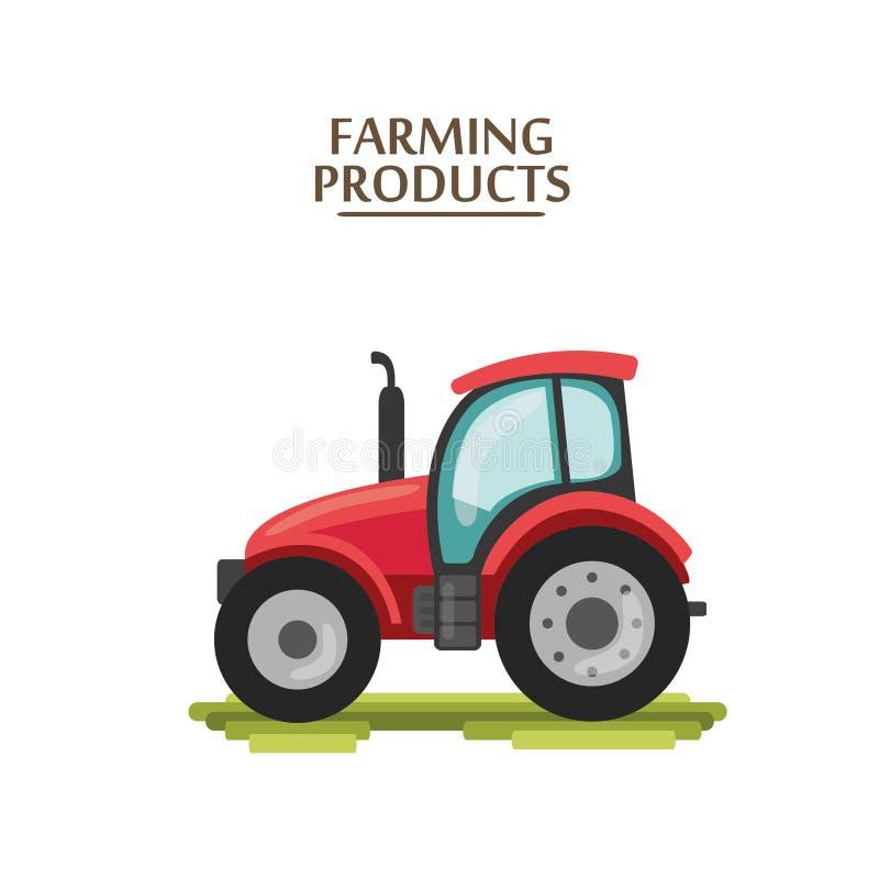 平的动画片拖拉机 农夫生产机器 图库摄影